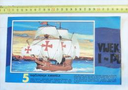 Santa Maria, Flagship Of Christopher Columbus / Navire Amiral Christophe Colomb /caravelle Sailboat, Sailing Ship Volier - Boats