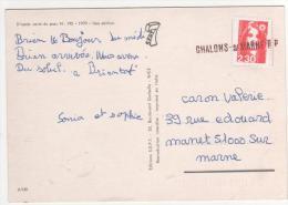 """Griffe Linéaire En Arrivée  De """"  Chalons - S/ Marne RP """" / Carte Postale De La Cote D´azur - France"""