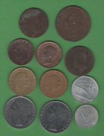 Italie Italia Italy Lot 11 Monnaies, Set 11 Coins Regno Italia 186; 5 Centesimi, 10 C - Republica Italiana 1987, 200 L - Italy