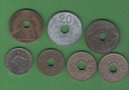 France Francia Monnaies   LOT 7  Pieces Set 7 Coins 5c, 10 C, 20 C, 25 C, 2 F Chambre De Commerce - France