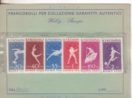 Sport-Olimpiadi-Olympics-Jeux Olympiques Roma 1960-Romania-Yvert 1720/25-Nuovi-Nouveau-New - Fußball-Weltmeisterschaft