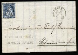 A2380) Schweiz Bankbrief Von Fleurier 30.8.1866 Nach Chaux-De-Fonds - 1862-1881 Sitzende Helvetia (gezähnt)