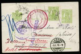 A2382) Austria Romania Kartenvorderseite Von Rumänien 23.12.1915 Nach Luzern / Schweiz Mehrfache Zensur - Lettres 1ère Guerre Mondiale