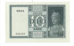 Cartamoneta - 10 Lire -  Italia Regno Decr 1938 XVII  BS 84 FIOR DI STAMPA FDS Rif. Cat Alfa 2014 - SERIE 0381 - #056309 - [ 1] …-1946 : Koninkrijk