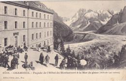 Cpa,avec Tampon,hotel Du Montanvert à Chamonix,savoyards Et Touristes à La Terrasse,vue Sur La Mer De Glace,simond Prop, - Chamonix-Mont-Blanc