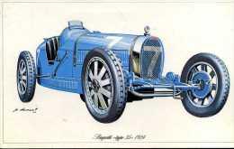 """Marque Bugatti """" Type 35 """" 1924 - Illustrateur : P. Dumont - (11,5 Cm X 18,5 Cm) - Voitures"""