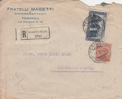 STORIA POSTALE BUSTA POSTALE FRATELLI MASETTI RAPPRESENTANTI TORINO 4-9-1926 - Posta