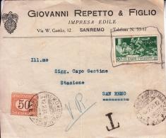 STORIA POSTALE FRONTE BUSTA POSTALE GIOVANNI REPETTO & FIGLIO IMPRESA EDILE SANREMO 12-2-1931 - Posta
