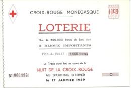 CROIX ROUGE MONACO . 1949 - Billets De Loterie