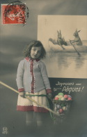 """ENFANTS - LITTLE GIRL - MAEDCHEN - Jolie Carte Fantaisie Portrait Fillette Oeufs Et Lapins De """"Joyeuses Pâques """" - Ostern"""