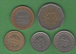 Bahrein Bahrain   Très Jolie Lot  5 Pieces Set 5 Coins 500, 100, 50, 25, 10 Fils - Bahreïn
