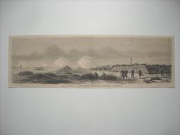 GRAVURE 1864. GUERRE D'AMERIQUE. LE FORT FISHER, COMMANDANT L'ENTREE DE FEAR-RIVER. - Stiche & Gravuren