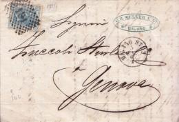 STORIA POSTALE  SCRITTA INTERNO 3/LUG/1867 EFFIGIE DI VITT.EMAN.II 20 C TIR.LONDRA-VAL.CAT.20 € - Post