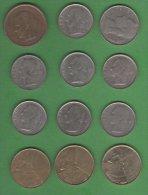 Belgique Belgie   Joli LOT  12 Pieces  5 F  1975 , 1F Pau 1957, 1973, 2=1975, 1977, 2=1978, 20F 1982 5F 1986, 1988,1992; - Belgique