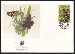 PAPILLON - BUTTERFLIE - SCHMETTERLING  - WWF / 1989 JERSEY ENVELOPPE FDC ILLUSTREE (ref CM161) - Butterflies