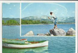 Cartolina Di Pesca Pescatore Con Barca  E Ragazzo Che Lancia La Rete Riviera Della Versilia - Fishing
