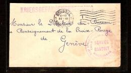 KRIJGSGEVANGENE Post Verstuurd Te BRUSSEL Op 22/6/1915 Naar RODE KRUIS In GENEVE ! ZELDZAAM ! - WW I