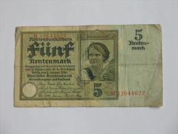 5 FÜNF  Rentenmark  - 1923  Rentenbankscheine - Germany - Allemagne ***** Billet Rare EN ACHAT IMMEDIAT ***** - [ 3] 1918-1933 : Repubblica  Di Weimar