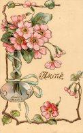 Illustrée Gaufrée Dorée Art Nouveau  : Vase De Primevères Au Ruban - Fleurs, Plantes & Arbres
