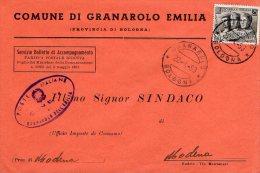 1953 STORIA POSTALE COMUNI ITALIA AL LAVORO BELLA BUSTA MULTIAFFRANCATA COMUNE DI GRANAROLO DELL'EMILIA(BOLOGNA)--R810 - 1946-60: Storia Postale