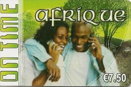 CARTE-PREPAYEE-7.5€-ON TIME-AFRIQUE-31/12/2008- GRATTE E- T BE- - France