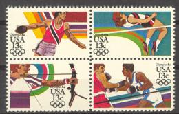 BL2-23 UNITED STATES 1983 MI 1644-1647st SPORT, OLYMPICS LOS ANGELES 1984, DISCUS, ARCHERY. MNH, POSTFRIS, NEUF**. - Zomer 1984: Los Angeles