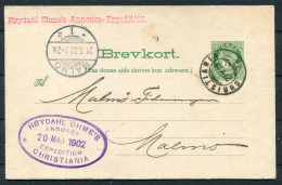 1902 Norway Postal Stationery Brevkort Chistiania - Malmo, Sweden / Hoydahl Ohme's Annonce Expedition