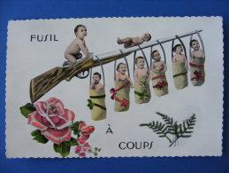 """CPM Humoristique """"Fusil à Coups"""" : Fusil, Arme, Enfants .... - Militaria"""