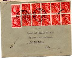 Lettre De Narbonne (1952) Pour Carcasonne _Imprimés - Marcophilie (Lettres)