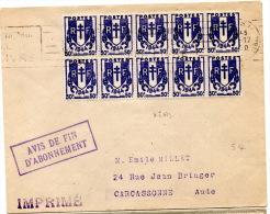 Lettre De Paris IX (1950) Pour Carcasonne _Imprimés - Marcophilie (Lettres)