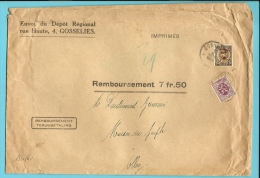 284+341 Op IMPRIMES-REMBOURSEMENT Brief Met Stempel GOSSELIES, En Tweetalige Stempel TERUGBETALING / REMBOURSEMENT !!!! - 1931-1934 Képi