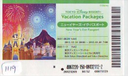 Disney Passeport Entreecard JAPON * TOKYO DISNEY RESORT *  Passport (1119) JAPAN * NEW YEAR'S EVE PASSPORT - Disney