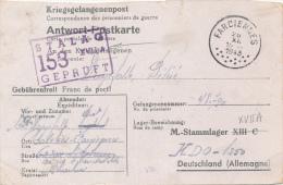 BRIEFKAART 1943 * KRIEGSGEFANENENPOST * STALAG 153 XVII A * VAN FARCIENNES    2 SCANS