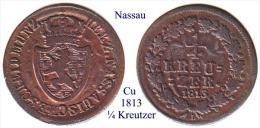 DL-1813, ¼ Kreutzer, Nassau - Small Coins & Other Subdivisions