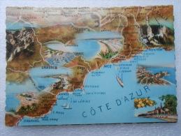 CP 06  Carte Geographique Région De La COTE D'AZUR   - Provence Alpes Côte D'azur - Vue Panoramique - Provence-Alpes-Côte D'Azur