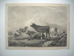 GRAVURE 1864. REPOS SUR LA ROUTE DU MARCHE. D'APRES UN TABLEAU DE WILLIS. - Prints & Engravings