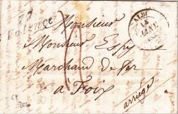 1837 - TARN - LETTRE De VALENCE Avec CURSIVE + T14 De ALBI Pour FOIX - 1801-1848: Precursores XIX