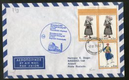 Greece 1974 Thessaloniki - Baghdad Iraq Lufthansa Costumes Monument First Flight Cover # 16427 - Lettres & Documents