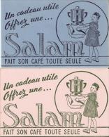 Deux Buvards Un Rose & Un Bleu 11cmX17,7cm Café Salam Cafetiere Fait Son Café Toute Seule TB - Café & Thé