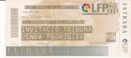 España--Futbol--F.C.Barcelona--S.D.Compostela--Jornada 28--1999 - Tickets - Entradas