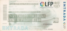 España--Futbol--F.C.Barcelona--Cartagonova FC.--Jornada 11--2000 - Tickets - Entradas