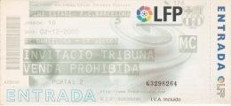 España--Futbol--F.C.Barcelona--CF Vilovi--Jornada 16--2000 - Tickets - Entradas