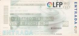 España--Futbol--F.C.Barcelona--CE Mataro--Jornada 20--2001 - Tickets - Entradas