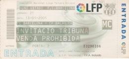 España--Futbol--F.C.Barcelona--CF Balaguer--Jornada 21--2001 - Tickets - Entradas