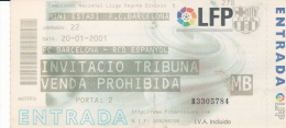 España--Futbol--F.C.Barcelona--RCD Español--Jornada 22--2001 - Tickets - Entradas