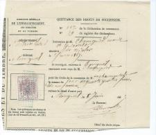 TIMBRES FISCAUX Sur Document - Timbre Dimension Sur Quittance De Droit De Succession - Fiscaux