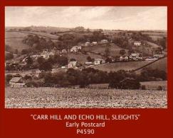 "P4590  ""CARR HILL AND ECHO HILL, SLEIGHTS""  (1910's. B/w Matt Real Photo Postcard) - England"
