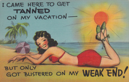 "AS: Brunette Wearing Red Bikini Tanning Her ""weak End"", Sunny Beach Day, 30-40s - Illustrators & Photographers"