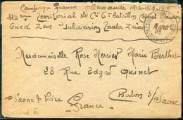 MAROC - LETTRE EN FRANCHISE MILITAIRE, TRESOR ET POSTES AUX ARMÉES / OUED ZEM LE 2/6/1916 - TB - Lettres & Documents