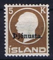 Iceland: 1922  Mi Nr 42,   MH/* Very Well Centered CV € 500 , Dienstmarke Service - Dienstzegels